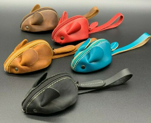 Genuine Cute Soft Leather 3D Mouse Coin Wallet Change Purse with Zipper