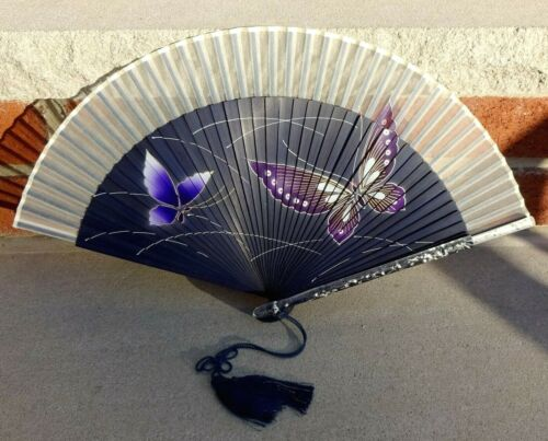 Maisendo Kyoto Japan Hand Painted Sensu Folding Hand Fan Butterfly Design