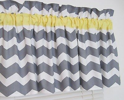 Yellow and Gray Chevron Window Topper Valance Zig Zag Bath Bedroom Nursery