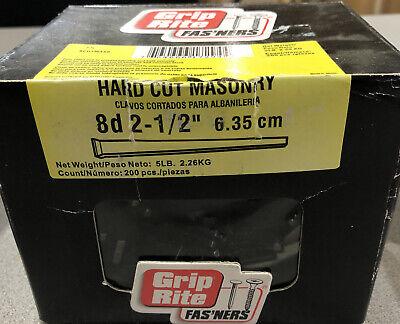 5 Lbs 200 Pcs Grip Rite Hard Cut Masonary Nails 8d X 2-12 Hardened Steel
