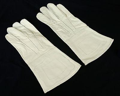 Leder Handschuhe weiss Mittelalter Uniform Reenactment sca Larp Rüstung KVM106W