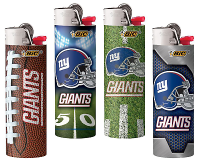 BIC NFL New York Giants Logo Design Lighters Set of 4 New &