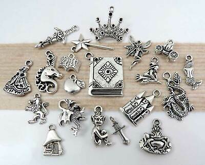 20 FANTASY Charms, Antique Silver Mixed Charm Collection Set Magical Fairy Tale