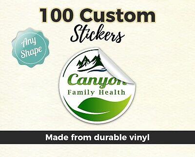 - 100 2x2 Custom Printed logo custom shape Sticker Die Cut Vinyl Car Bumper Labels