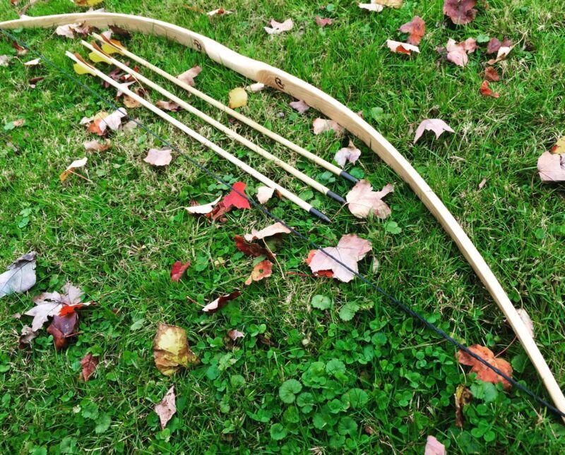 """55/60lb You-Finish 71"""" Hickory Longbow & Arrow Combo - Ringing Rocks Archery"""