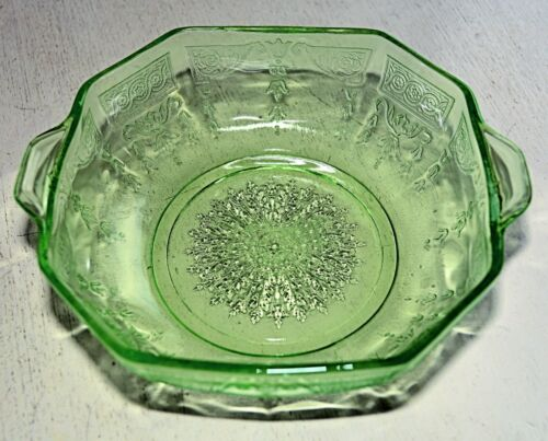 "Anchor Hocking GREEN PRINCESS Depression Glass 6"" CEREAL OATMEAL BOWL [6 AVAIL]"