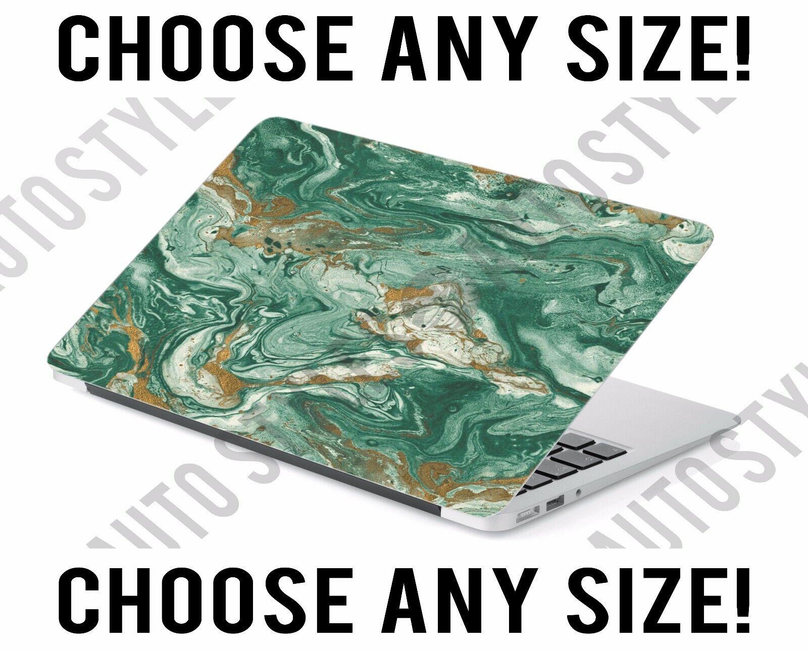 Green Gold Water Marble Laptop Skin Decal Sticker Tablet Ski