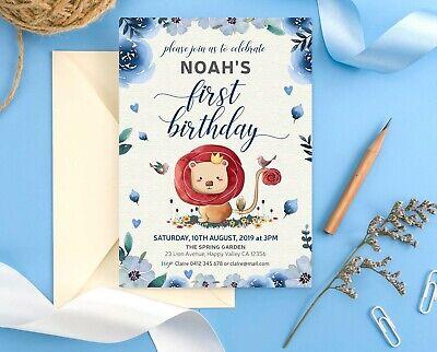 Boy 1st Birthday Invitation Personalised Baby Lion DIY DIGITAL PRINTABLE FILES