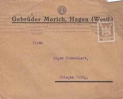 HAGEN, Briefumschlag 1927, Gebrüder Morich