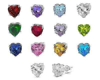925 Sterling Silver Any Birthstone Color 5x5mm Heart Shape CZ Stud Earrings 925 Sterling Silver Heart