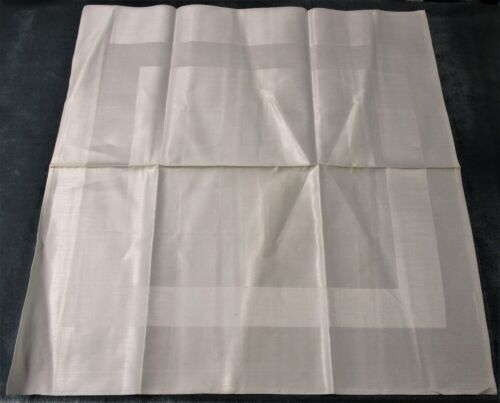 Antique 12 Linen Damask Dinner Napkins Satin Band Hand Hemmed Never Used