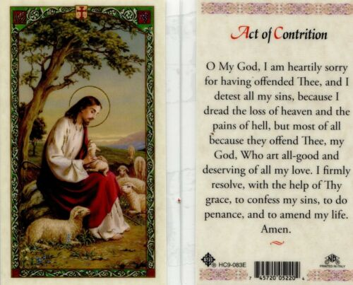 Act of Contrition Prayer O My God I am Heartily Sorry For All My Sins Holy Cards