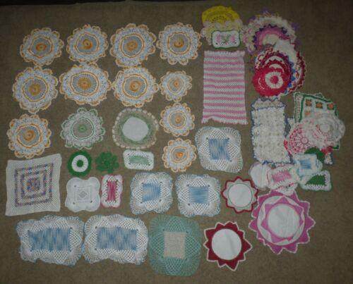 Huge Lot Of 69 Vintage Crochet Doilies - Craft, Decorating