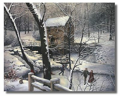 "Skaters,Pond,& Woods ""Old Mill Stream IV"" By Glynda Turley WallArt Print Picture"