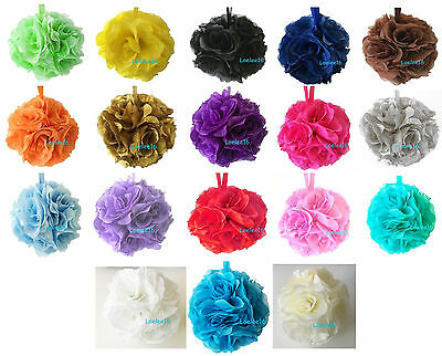 6  Flower Kissing Ball Wedding Silk Rose Party Pomander   20 Colors Available