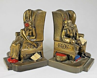 """Vintage K & O """"Sweethearts"""" Metal Bookends - Circa 1930's, Made in U.S.A."""