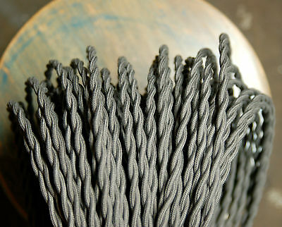 Steel Gray Twisted Cloth Covered Wire, Vintage Style Lamp Cord Antique Light Fan