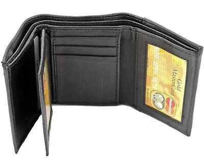 New Mens Black Genuine Leather Trifold Wallet ID Window Credit Card Case - Trifold Wallets