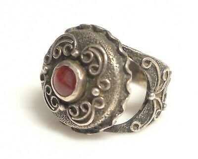 1940s Jewelry Styles and History Large Ornate 1940s Vintage 835 Silver Garnet Ring Sz 7  $97.75 AT vintagedancer.com
