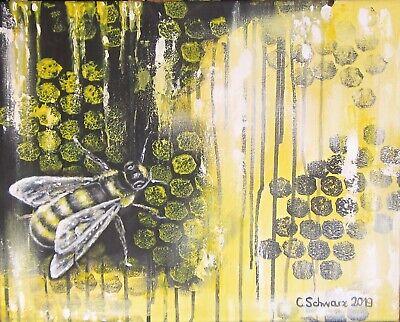 abstraktes Acrylgemälde HONEY BEE, Kunst Malerei Bild gemalte Biene, Wandbild ()