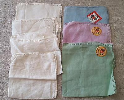 Vintage Ladies Womens Irish Linen Fruit of theLoom Hankys Handkerchiefs Lot of 7