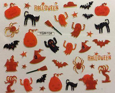 Nail Art 3D Decal Stickers Halloween Orange Ghost Bat Pumpkin Black Cat YGA134 (Bat Halloween Nail Art)