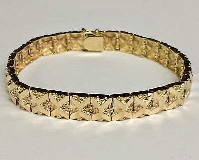 10kt Solid Yellow Gold Handmade Fashion Mens Nugget Bracelet 9 mm 24 grams  7""