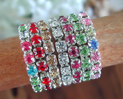 Single Row 3mm Stretch Rhinestone Toe Ring Your Choice In Color Of Crystals Rhinestone Crystal Toe Ring
