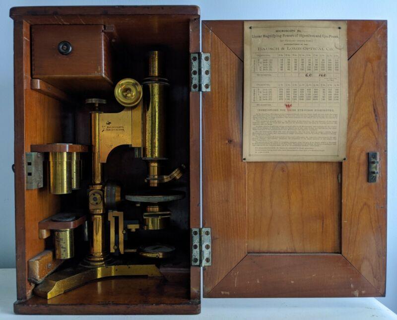 Antique 1885 Brass Bausch & Lomb Tripod Base Microscope w/ Objectives & Extras
