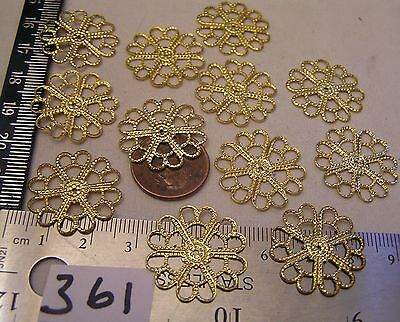 16 Pc 23mm Filigree Connector Heart Flower Shape Jewelry Findings Stamping Gold
