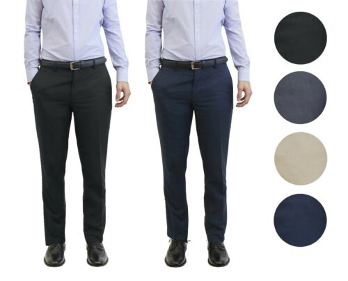 Mens Belted Slim Fit Dress Pants Flat Front Mens Work Trousers Formal New 2 Pack