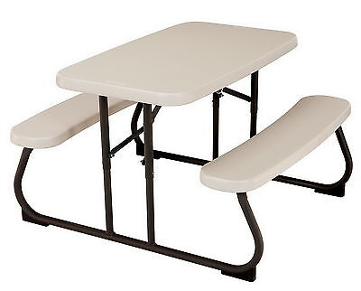 Kid Size Folding Portable Picnic Table Seats 4 Almond Children