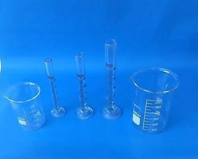 Beaker Set Of 600ml 250ml Cylinder Set Of 10ml 25ml 50ml Lab Glass New