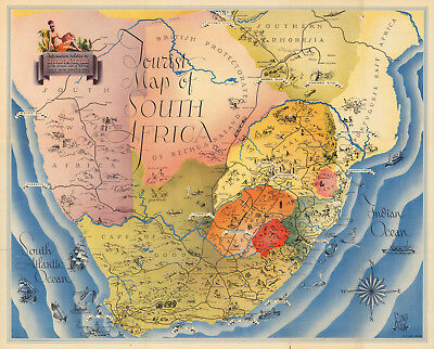 Midcentury Pictorial Tourist Map of South Africa Wall Art Poster Vintage History