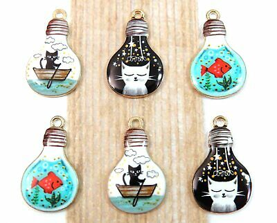 Set 6 Cat & Goldfish Charms in Bulbs, Gold Plated Enamel Mixed Charm Collection