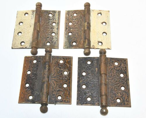 4 MATCHING VINTAGE EASTLAKE STYLE CANNONBALLE PIN HINGES 4 X 4