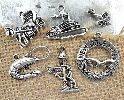 Set of 6 NEW ORLEANS Theme Charms, Mardi Gras, Antique Silver Charm Collection](Mardi Gras Themes)