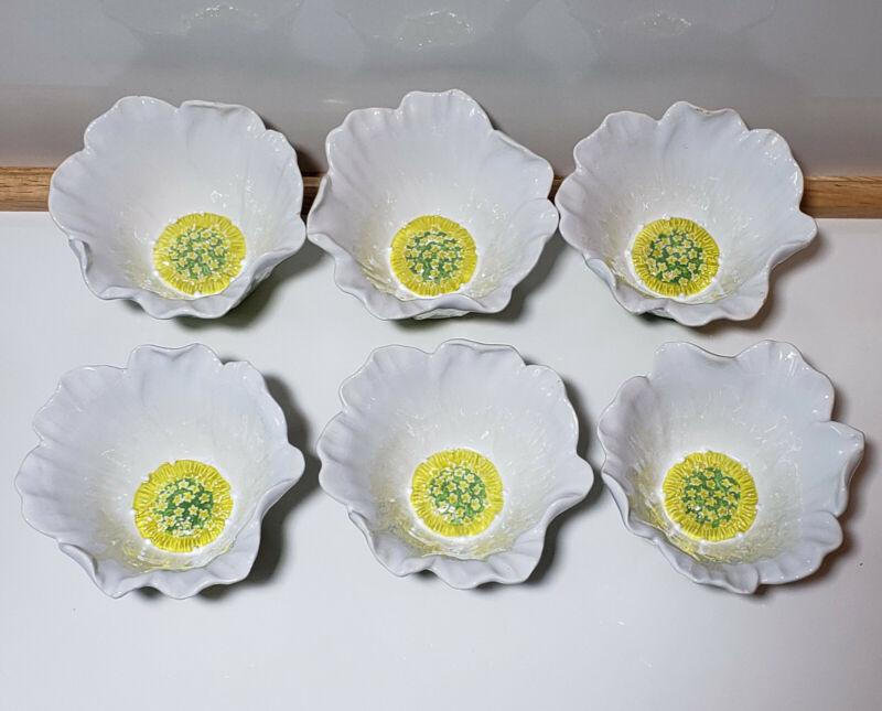 6 - Cosmos Nanette Vacher Ambiance Collection Ice Cream Dessert Bowls WHT Daisy