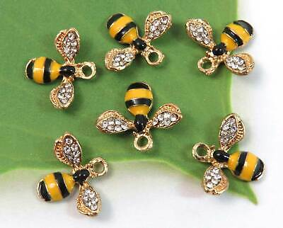 6 BEE Charms, Yellow & Black w 12 Rhinestones Each! Gold Plated Enamel Charm -