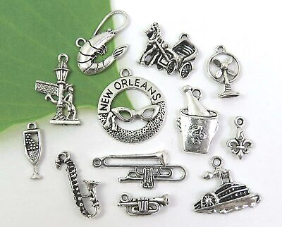 Set of 12 NEW ORLEANS Theme Charms, Mardi Gras, Antique Silver Charm Collection](Mardi Gras Themes)