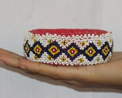 Pot Ring Cloth Hand Beads Made  Tribal Woman Head Pot Vintage Ring - 11354