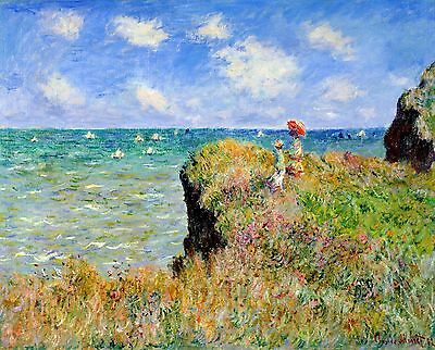 "Cliff Walk At Pourville by Claude Monet, 8""x10"", Giclee Canvas Print"