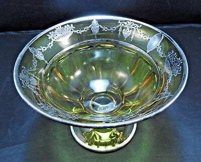 Vintage Amber Yellow Cambridge Glass Stemmed Bowl / Compote with Silver Overlay
