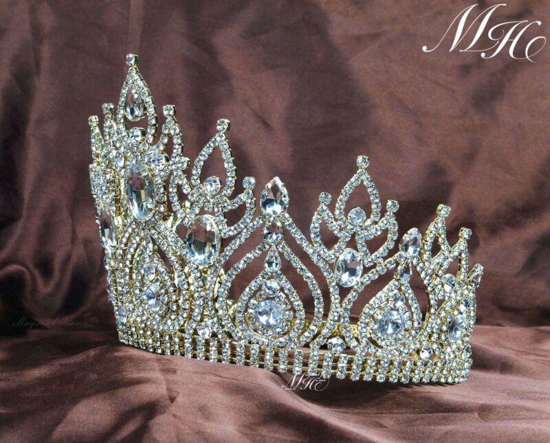 15cm High Women Large Rhinestone Crystal Wedding Bridal Crowns Tiaras Pageant
