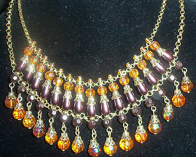 Rober Costume (ROBER ROSE VINTAGE DANGLE BIB NECKLACE GOLD AURORA BORLEAIS CRYSTAL BEADS)