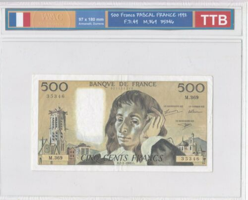 Ticket From 500 Francs Pascal 1992 Ttb