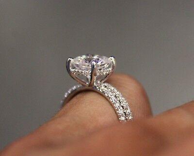3.35 Ct Cushion Cut Diamond Engagement Ring Round Pave H,VS2 GIA Platinum 5