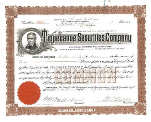 Tippecanoe Securities Company > 1909 New Jersey old stock certificate share