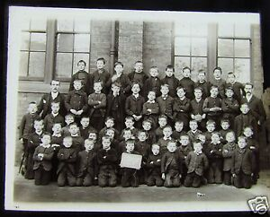 Glass-Magic-lantern-Slide-VICTORIAN-SCHOOL-BOYS-C1890-POSSIBLY-AN-ORPHANAGE