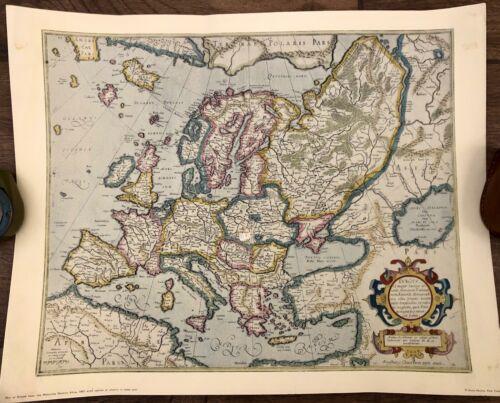 Vintage Map of Europe From Mercator Hondius Atlas, 1663 Penn Prints Map
